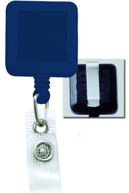 Square Badge Reel, W/ Reinforced Vinyl Strap & Belt Clip 2120-382X - QTY. 25