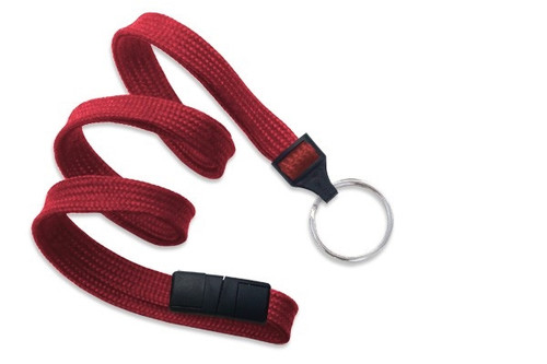 "3/8"" (10 MM) Flat Braid Breakaway Woven Lanyard W/ A Universal Slide Adapter & Nickel-plated Steel Split Ring - QTY. 100"