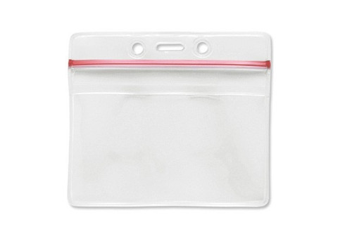 "1815-1010 Clear Vinyl Horizontal Badge Holder with Resealable Top, 3.63"" x 2.75"" - Qty. 100"