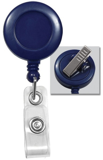 Round Badge Reel, W/ Clear Vinyl Strap & Swivel Spring Clip 2120-76XX - QTY. 25