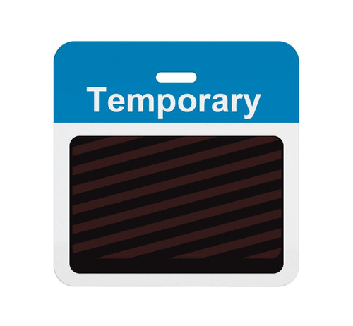 "T5938A Thermal-printable Timebadge Clip-on Backpart. Half Day / One Day. Blue ""Temporary"" Bar W/ Slot Hole. Pkg Of 1000"