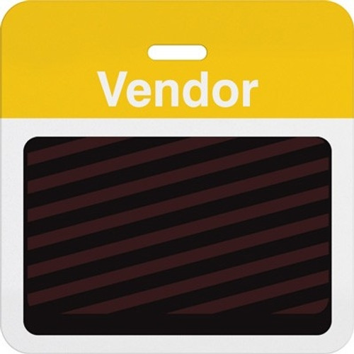 "T5937A Thermal-printable Timebadge Clip-on Backpart. Half Day / One Day. Yellow ""Vendor"" Bar W/ Slot Hole. Pkg Of 1000"