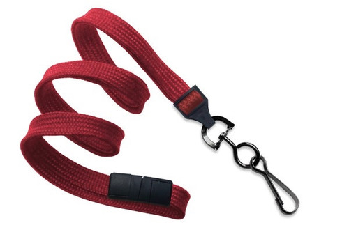 "3/8"" (10 MM) Flat Braid Breakaway Woven Lanyard W/ A Universal Slide Adapter & Black Oxide Swivel Hook - QTY. 100"