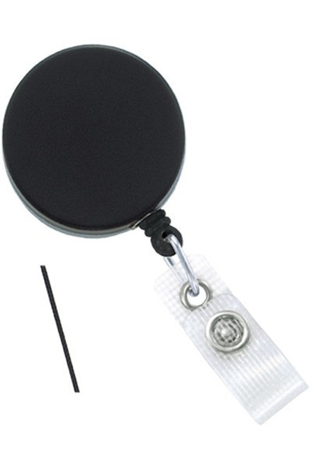 Black /Chrome Heavy-Duty badge Reel with Nylon Cord Reinforced Vinyl Strap & Belt Clip - Qty. 25