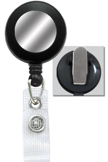 Round Badge Reel W/ Silver Sticker, Reinforced Vinyl Strap & Spring Clip 2120-450X - QTY. 25