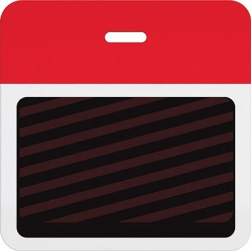T5903A Thermal-printable Timebadge Clip-on Backpart. Half Day / One Day. Red Bar (pms 185) W/ Slot Hole. Pkg Of 1000