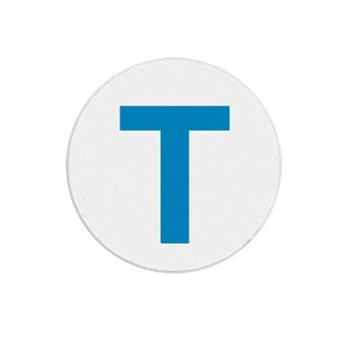 "T6134 Blue ""T"" Expiring Timespot Frontpart Indicator -one Day. Pkg Of 1,000"