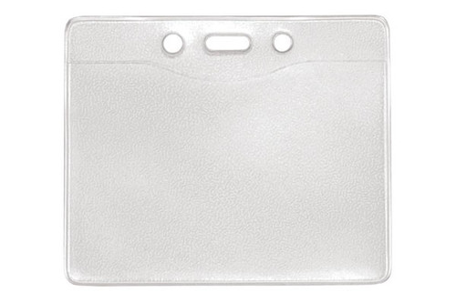 "1815-1200 Clear Vinyl Horizontal Badge Holder with Slot and Chain Holes, 4"" x 2.85"" - Qty. 100"