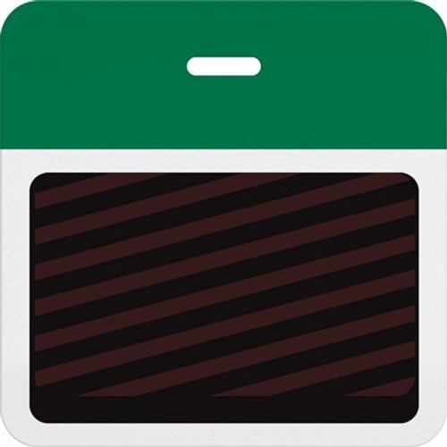 T5905A Thermal-printable Timebadge Clip-on Backpart. Half Day / One Day. Pantone Green Bar W/ Slot Hole. Pkg Of 1000