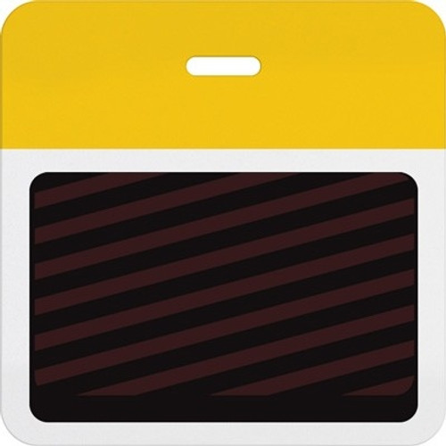 T5902A Thermal-printable Timebadge Clip-on Backpart. Half Day / One Day. Yellow Bar (pms 129) W/ Slot Hole. Pkg Of 1000