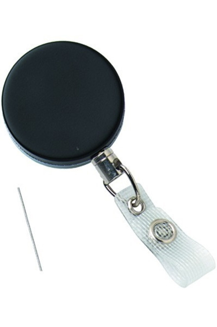 Black /Chrome Heavy-Duty Badge Reel with Wire Cord Reinforced Vinyl Strap & Belt Clip - Qty. 25