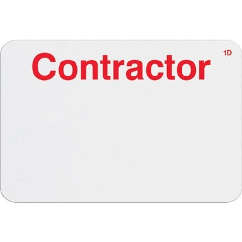 "T6105 Manual Expiring Timebadge Frontpart ""Contractor"" One-day. Pkg Of 1,000"