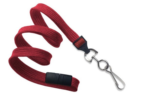 "3/8"" (10 MM) Flat Braid Breakaway Woven Lanyard W/ A Universal Slide Adapter & Nickel-plated Steel Swivel Hook - QTY. 100"