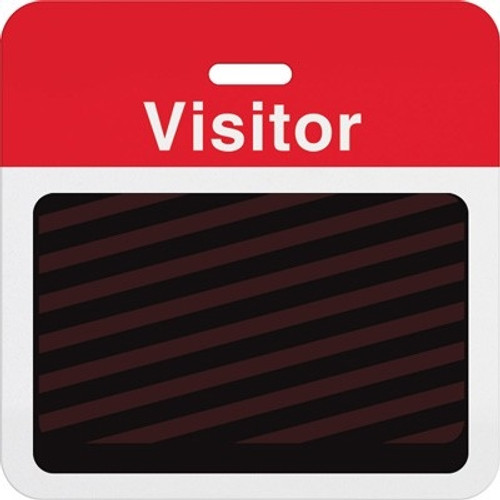 "T5913A Thermal-printable Timebadge Clip-on Backpart. Half Day / One Day.. Red ""Visitor"" W/ Slot Hole. Pkg Of 100"