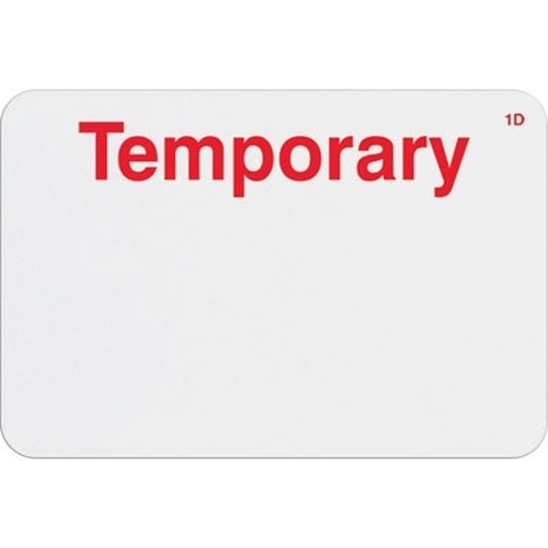 "T6104 Manual Expiring Timebadge Frontpart ""Temporary"" One-day. Pkg Of 1,000"