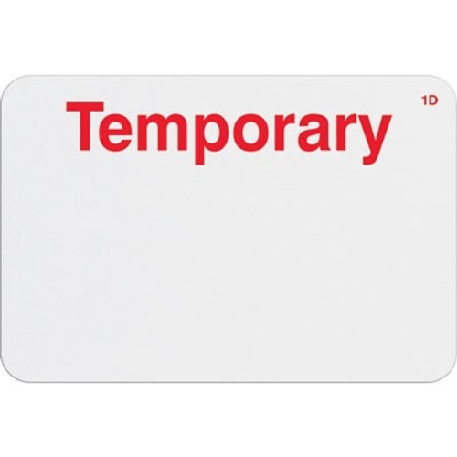 "T6104 Manual Expiring Timebadge Frontpart ""Temporary"" One-day. Pkg Of 1,000"