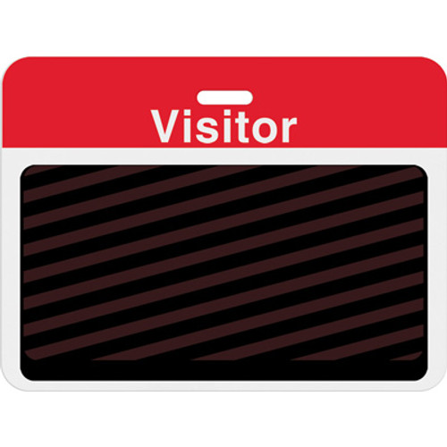 """T5913AL Large slotted expiring badge back with printed red """"VISITOR"""" bar PKG of 1000"""