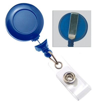 Gray Badge Reel w// Clear Vinyl Strap /& Belt Clip 25//Pkg