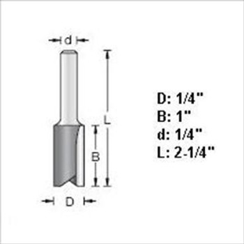 "Amana 45210 1/4""D Straight Plunge Router Bit 1/4"" Shank"