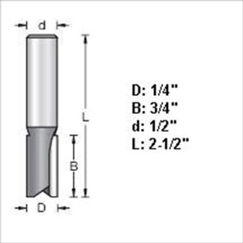 "Amana 45408 1/4""D Straight Plunge Router Bit 1/2"" Shank"