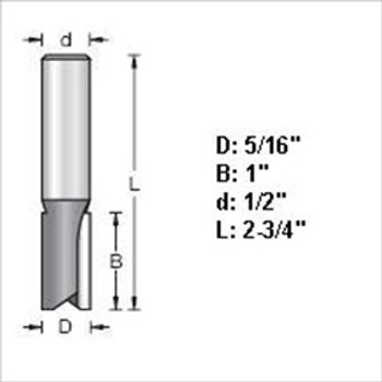 "Amana 45412 5/16""D Straight Plunge Router Bit 1/2"" Shank"