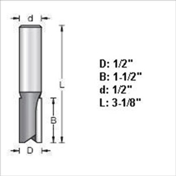 "Amana 45422 1/2""D Straight Plunge Router Bit 1/2"" Shank"