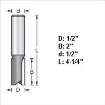 "Amana 45426 1/2""D Straight Plunge Router Bit 1/2"" Shank"