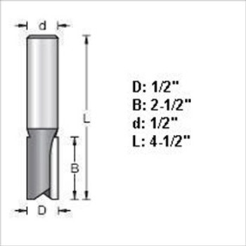 "Amana 45427 1/2""D Straight Plunge Router Bits 1/2"" Shank"