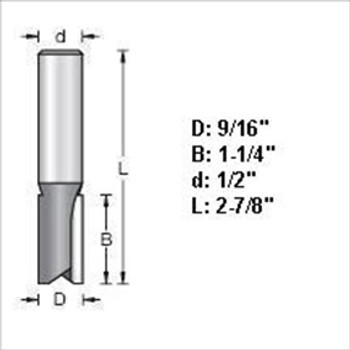 "Amana 45428 9/16""D Straight Plunge Router Bit 1/2"" Shank"