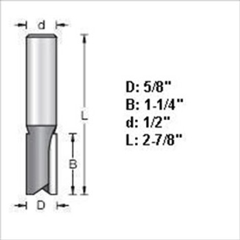 "Amana 45432 5/8""D Straight Plunge Router Bit 1/2"" Shank"