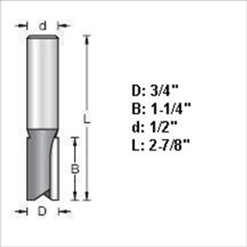 "Amana 45440 3/4""D Straight Plunge Router Bit 1/2"" Shank"