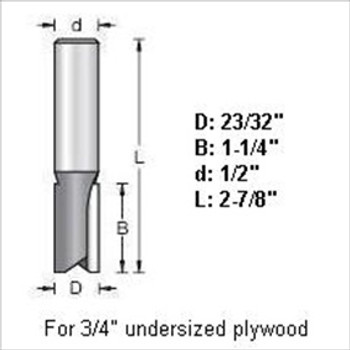 "Amana 45445 23/32""D Dado Bit for 3/4"" Undersized Plywood 1/2"" Shank"
