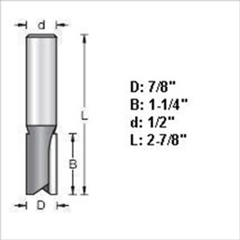 "Amana 45446 7/8""D Straight Plunge Router Bit 1/2"" Shank"