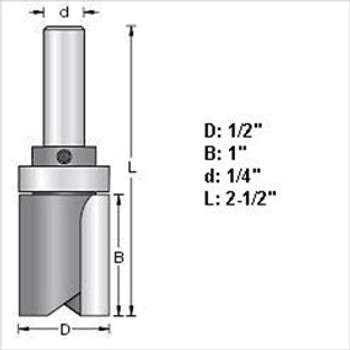 "Amana 45460 1/2""D Top Bearing Pattern Router Bit 1/4"" Shank"