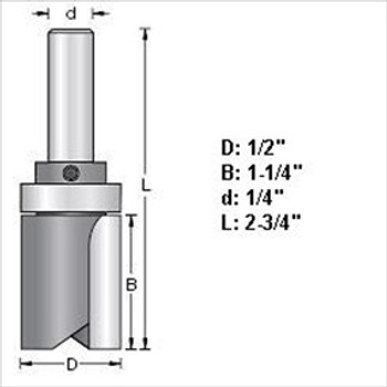 "Amana 45461 1/2""D Top Bearing Pattern Router Bit 1/4"" Shank"