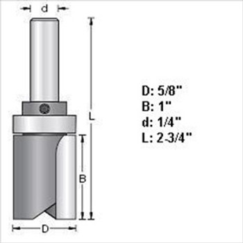 "Amana 45462 5/8""D Top Bearing Pattern Router Bit 1/4"" Shank"