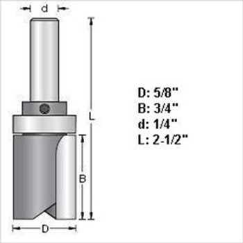 "Amana 45463 3/4""D Top Bearing Pattern Router Bit 1/2"" Shank"