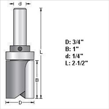 "Amana 45464 3/4""D Top Bearing Pattern Router Bits 1/4"" Shank"