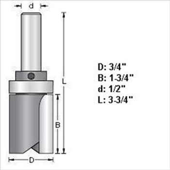 "Amana 45465 3/4""D Top Bearing Pattern Router Bits 1/2"" Shank"