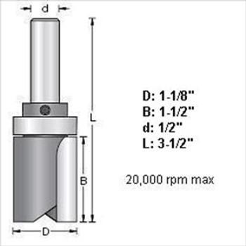 "Amana 45468 1-1/8""D Top Bearing Pattern Bit 1/2"" Shank"