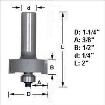 "Amana 49300 Rabbeting Router Bit 1/4"" Shank"