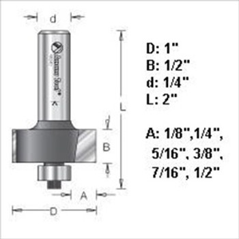 "Amana 49340 Rabbeting Router Bit Set - 6 Depths 1/4"" Shank"
