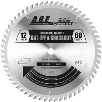 "Amana MD12-600 12"" x 60t ATB Crosscut Blade 1"" Bore"