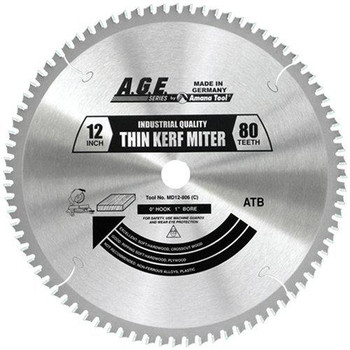 "Amana MD12-806C 12"" x 80t Thin Miter Blade 1"" Bore"