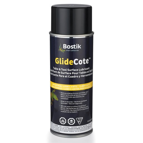 Glidecote 10.75oz  Regular maintenance of saw tables and receiving tables with Bostik® Glidecote® significantly reduces sliding friction on all metal, laminate, and plastic surfaces.
