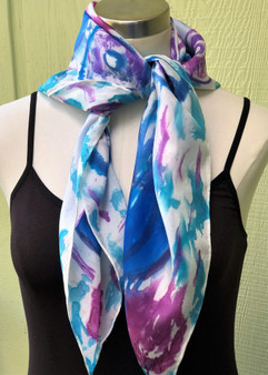 100% Silk Square Scarf  Hand Painted - Under The Sea