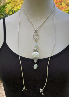 Ball Recycled Fiber Necklace - Pearl White - Versatile Tie