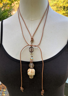 Ball Recycled Fiber Necklace - Antique Copper - Versatile Tie
