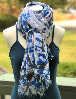 Hand Painted cotton/Viscose Fringe Scarf/Wrap/Shawl - Brown & Bluish Teal