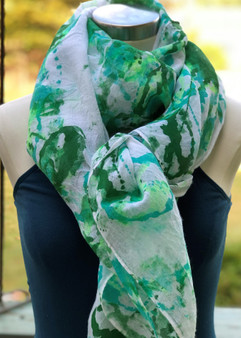 Hand Painted Cotton/Viscose Scarf/Wrap/Shawl - Seafoam/Green